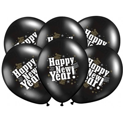"Balony 14"" Happy New Year, metalic black"