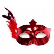 Maska Party z piórkiem, czerwony