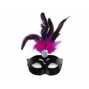 Maska Party z piórem, czarny