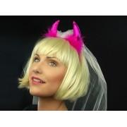 Opaska Diabeł z futerkiem i welonem, różowy