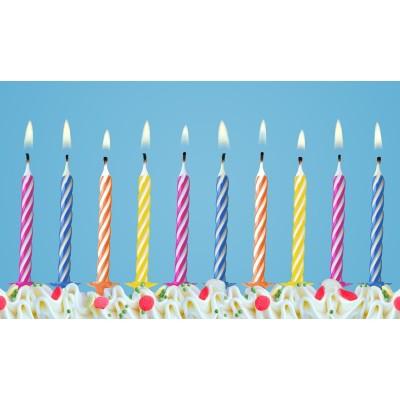 Świeczki urodzinowe mix, zestaw 10 sztuk