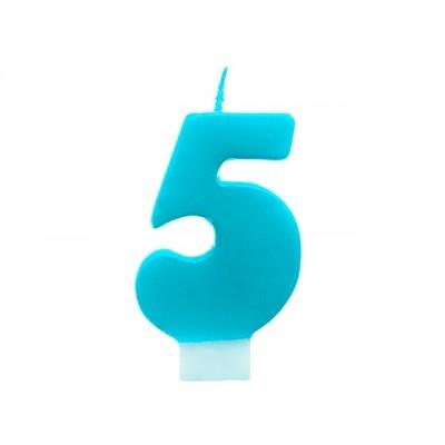 Świeczka urodzinowa Cyferka 5, turkus