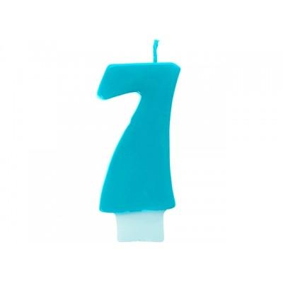Świeczka urodzinowa Cyferka 7, turkus