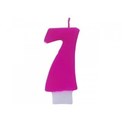 Świeczka urodzinowa Cyferka 7, różowy