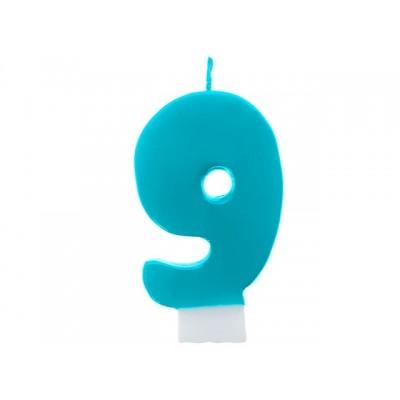 Świeczka urodzinowa Cyferka 9, turkus