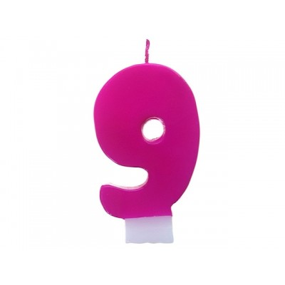 Świeczka urodzinowa Cyferka 9, różowy