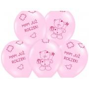 "Balony 14"" Miś - MAM JUŻ ROCZEK, pastel pink"