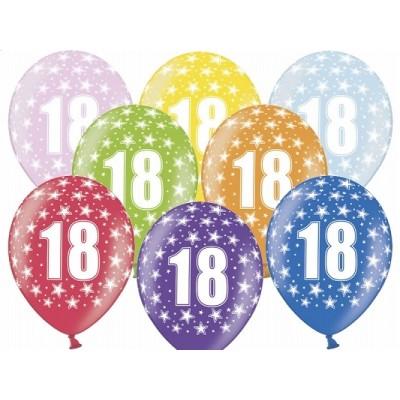 """Balony 14"""" 18th birthday, Metallic mix kolorów"""