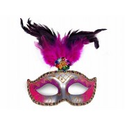 Maska Party z piórami, srebrny i różowy