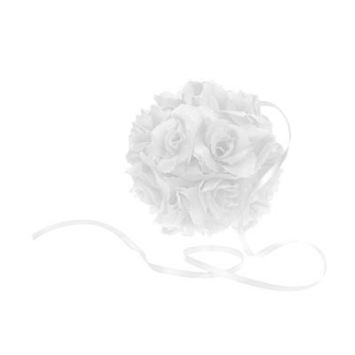 Kula kwiatowa, biała, 15cm