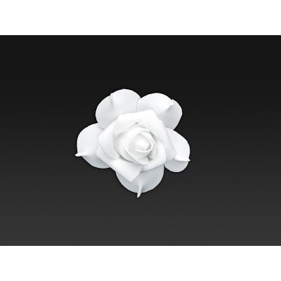 Kwiatki ozdobne z taśmą, biały, 7cm zestaw 9 sztuk