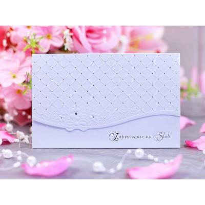 Zaproszenia ślubne z tłoczeniem, perłowy, zestaw 10 sztuk