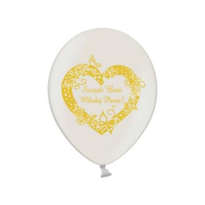 """Balony 14"""" Szczęść Boże Młodej Parze, Metalic Pearl zestaw 6 sztuk"""