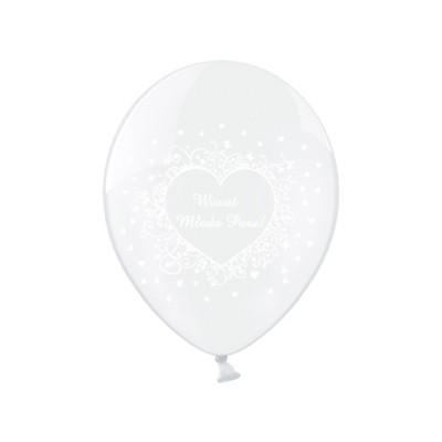 "Balony 14"" Wiwat Młoda Para!, Crystal Clear zestaw 6 sztuk"