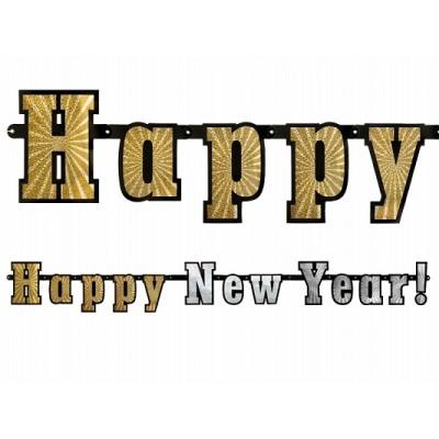 Baner holograficzny Happy New Year..!, 15 x 142cm, 1szt.