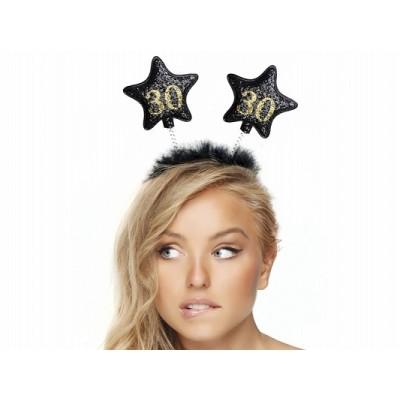 Opaska z gwiazdkami 30, czarna na 30 - te urodziny