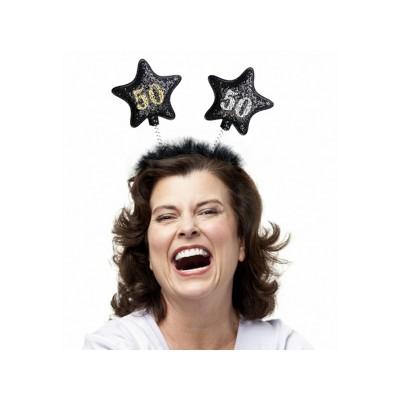 Opaska z gwiazdkami 50, czarna na 50 - te urodziny