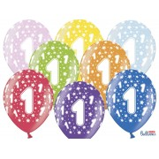 """Balony 30 cm """"1"""" na Roczek mix kolorów"""
