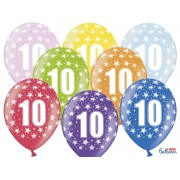 """Balony 30 cm """"10"""" na 10 - te urodziny, mix kolorów"""