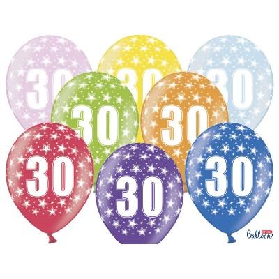 """Balony 30 cm """"10"""" na 30 - te urodziny, mix kolorów"""