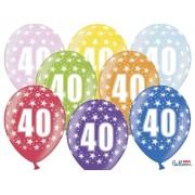 """Balony 30 cm """"40"""" na 40 - te urodziny, mix kolorów"""