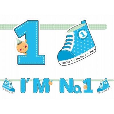 Baner I'm No. 1, niebieski 110 cm