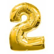 Balon foliowy  Cyfra 2, rozmiar 40 cali, 95 cm, złoty