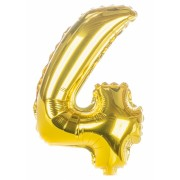 Balon foliowy  Cyfra 4, rozmiar 40 cali, 95 cm, złoty