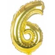 Balon foliowy  Cyfra 6, rozmiar 40 cali, 95 cm, złoty