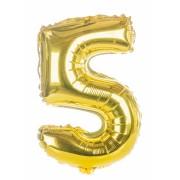 Balon foliowy  Cyfra 5, rozmiar 40 cali, 95 cm, złoty