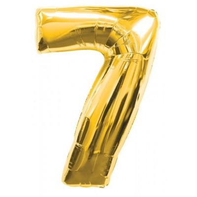 Balon foliowy  Cyfra 7, rozmiar 40 cali, 95 cm, złoty