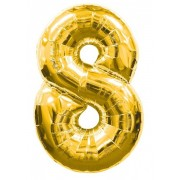 Balon foliowy  Cyfra 8, rozmiar 40 cali, 95 cm, złoty