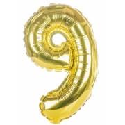 Balon foliowy  Cyfra 9, rozmiar 40 cali, 95 cm, złoty