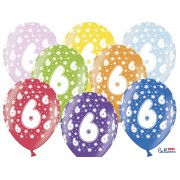 Balony na Szóste Urodziny z nadrukiem 6
