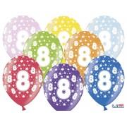 Balony na Ósme Urodziny z nadrukiem 8