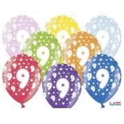 Balony na Dziewiąte Urodziny z nadrukiem 9