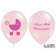 "Balony z nadrukiem ""Nasza Mała Dziewczynka"" różowe"