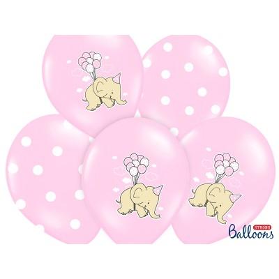 Balony z nadrukim Słonik różowe
