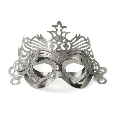 Maska Party z ornamentem srebrna