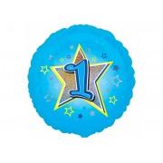 Balon foliowy niebieski Gwiazda z Jedynką na Roczek