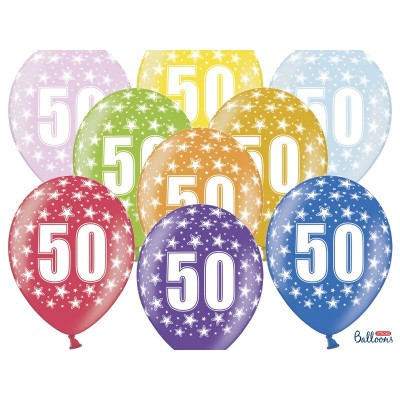 Balony na Pięćdziesiąte Urodziny z nadrukiem 50