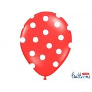 Balony czerwone w białe kropki 14 cali