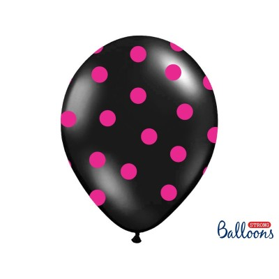 Balony czarne w różowe kropki 14 cali