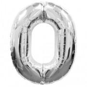 Balon foliowy 40 cali, 95 cm, cyfra 0 srebrny