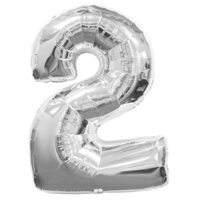 Balon foliowy 40 cali, 95 cm, cyfra 2 srebrny