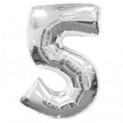 Balon foliowy 40 cali, 95 cm, cyfra 5 srebrny