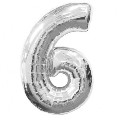 Balon foliowy 40 cali, 95 cm, cyfra 6 srebrny