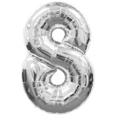 Balon foliowy 40 cali, 95 cm, cyfra 8 srebrny