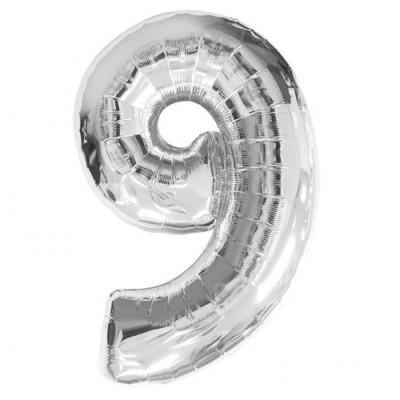 Balon foliowy 40 cali, 95 cm, cyfra 9 srebrny