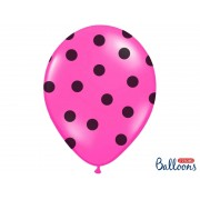 Balony 30 różowe w czarne kopki 30 cm